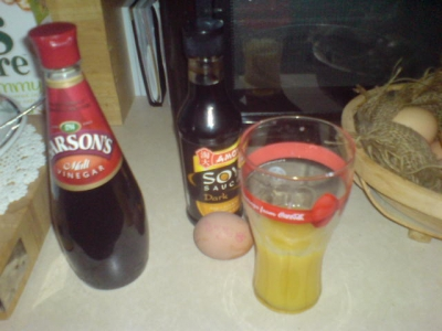 Ingredients with glass of orange juice!