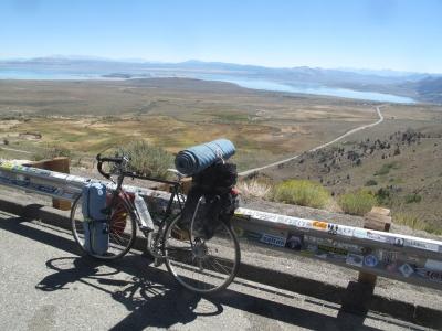 M'bike has a view of Mono Lake