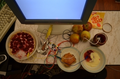 Food attached to MaKey MaKey