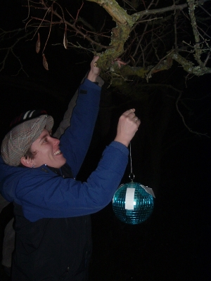Hanging Disco ball in hat.JPG