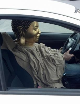 Buddha drivin' to A&P
