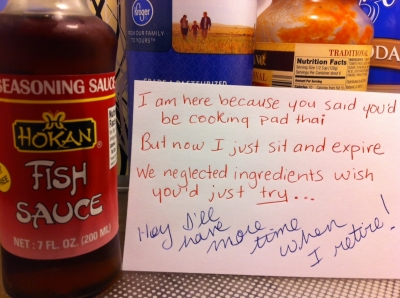 A passive aggressive note from the fish sauce