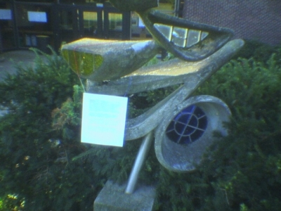 Sculpture with Sign