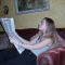 Reading the newspaper.