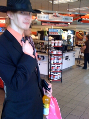 In the gas station, in our best clothes