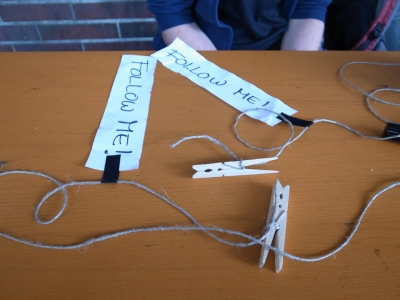 Clothespins and labels