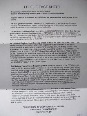 FBI fact sheet