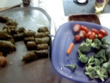 The dolmas are on the left. It's a little roll of allergic reaction...